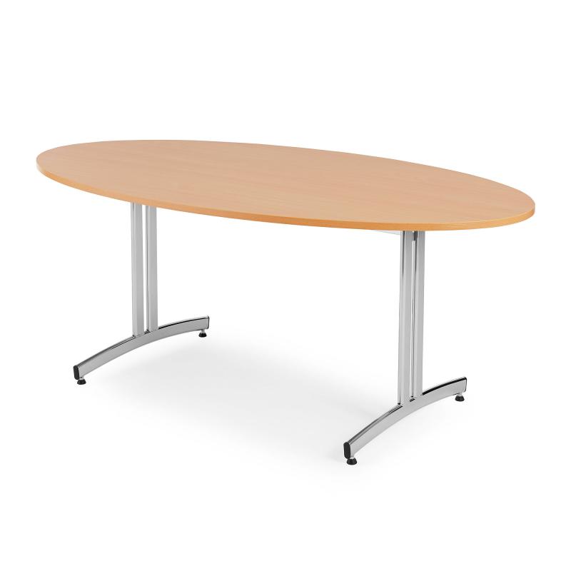 Oválny jedálenský stôl Sanna, 1200x700 mm, buk, chróm