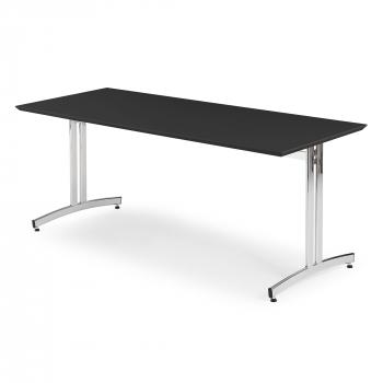 Jedálenský stôl Sanna, 1800x700 mm, HPL, čierna, chróm