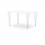 Jedálenský stôl Zadie, 1400x800 mm, HPL, biela / chróm