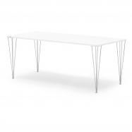 Jedálenský stôl Zadie, 2000x800 mm, HPL, biela / chróm