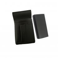 Koženkový set - kasírka (čierna, imitácia kože, 2 zipsy) a vrecko New Barex