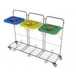 • rozmery: 50 x 152 x 103 cm• konštrukcia vozíka: oceľ; povrchová úprava: chróm• možnosť výberu farieb veka: červená, modrá, zelená, žltá• 3 x vak objem 120l; nosnosť jedného vaku: 30 kg• 4 x otočné kolesá d = 7,5 cm; 4 x plast. nárazník• celková nosnosť vozíka: 90 kg