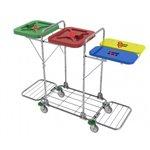 • rozmery: 50 x 140 x 109 cm• konštrukcia vozíka: oceľ; povrchová úprava: chróm• možnosť výberu farieb vík: červená, modrá, zelená, žltá• 2 x vak objem 120l; 2 x vak objem 80l; nosnosť jedného vaku: 30 kg• 4 x otočné kolesá d = 10cm; 4 x plast. nárazník• celková nosnosť vozíka: 120 kg