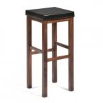 Pevná barová stolička s čalúneným sedákom. odolná koženka klasický dizajn v farbe orecha