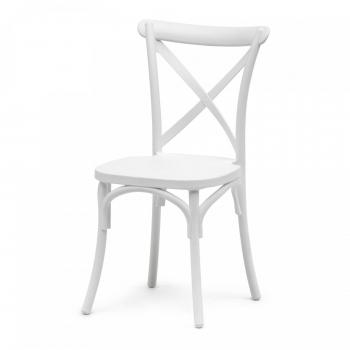 Banketová stolička Crossback, biela