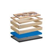 MODUL chlazený 4 misky, 13 cm, světlý buk, dva základní rámy, na kterých je položen horní rám pro studený bufet a kompletní nást