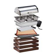 Modul WOOD pro teplé pokrmy, tmavý - komplet 3x základní rám o rozměru 58 x 40,5 x 6,5 cm, 1x horní dřevěný rám pro vodní lázeň,
