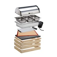 Modul WOOD pro teplé pokrmy, světlý - komplet 3x základní rám o rozměru 58 x 40,5 x 6,5 cm, 1x horní dřevěný rám pro vodní lázeň