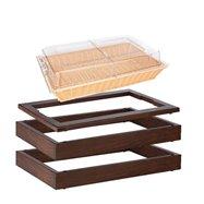 MODUL bufetový s košíkem na pečivo 13 cm, tmavý buk; 2 základní dřevěné rámy, horní rám pro studený bufet a košík na pečivo s po